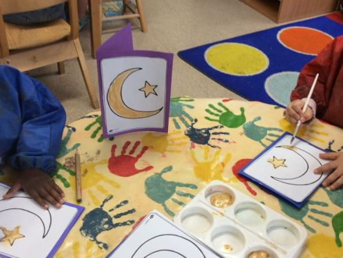 Preschool celebrate Eid by making cards and painting mehndi patterns
