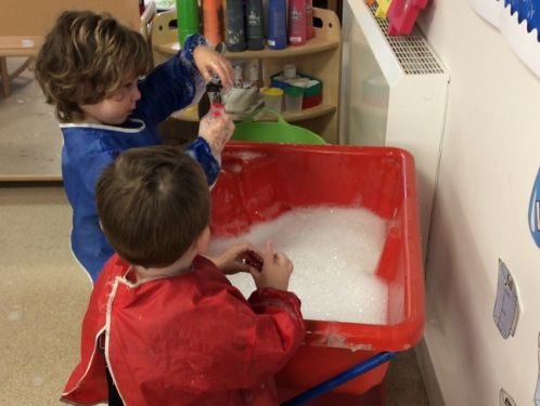 Preschool children enjoy lots of sensory play