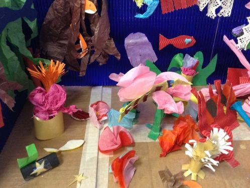 Year 3 use different materials to create beautiful coral reefs