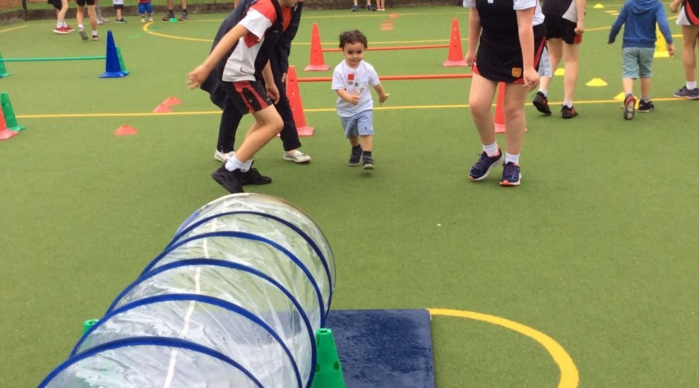 Preschool try their best at sports day