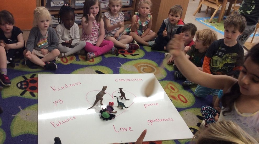 Preschool children discuss the best thing they have learnt this term