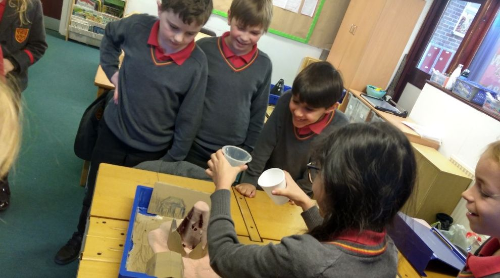 Year 4 experiment with exploding volcanoes