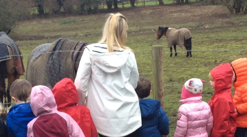 Preschool find horses in a field on their winter walk