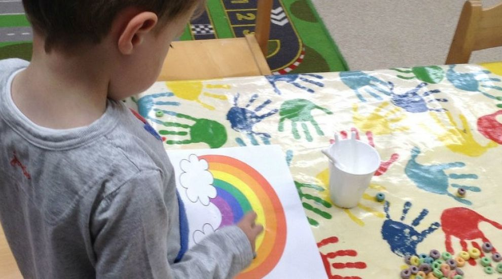 Preschool think about the colours of a rainbow