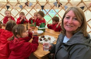 Mrs Ross enjoys the Strawberry Cafe at Peterley Farm