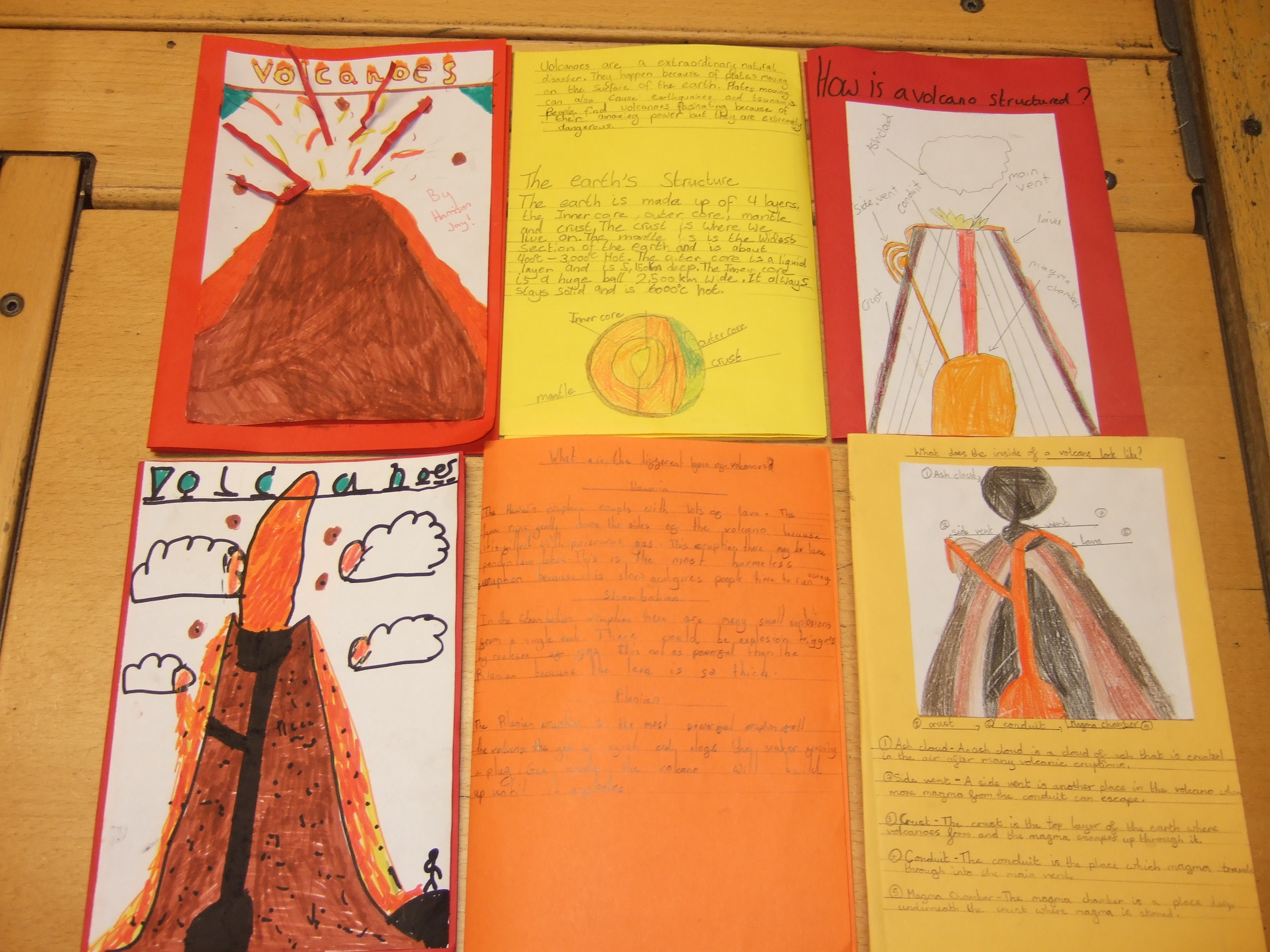 Year 4 volcano explanation booklets